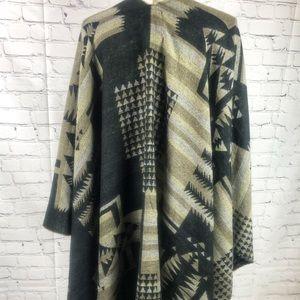Cost Plus World Market Sweaters - Knit Blanket Wrap Black Gray